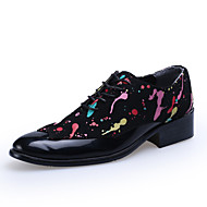 Men's Spring / Summer / Fall / Winter Comfort / Round Toe Leather Office & Career / Casual / Party & Evening Lace-up Black / White