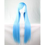 cos anime lyse farger parykker vann blå lang rett hår parykk 80 cm