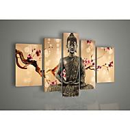 arte della parete religione pittura a olio buddha dipinta a mano su tela 5pcs verde / set senza cornice