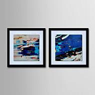 ensemble de 2 - peinture abstraite main toile moderne peint avec étiré encadrée huile