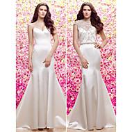 Trumpet/Mermaid Wedding Dress-White Sweep/Brush Train Jewel Satin / Tulle