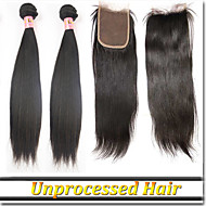 "4Pcs/Lot 8""-30""Mongolian Free Parting Lace Closure With Hair Bundles"