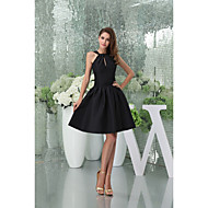 Homecoming Cocktail Party Dress A-line Halter Knee-length/Court Train Satin Women Short Dress