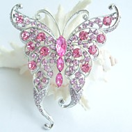 Women Accessories Silver-tone Pink Rhinestone Crystal Butterfly Brooch Art Deco Crystal Brooch