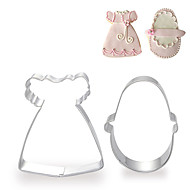 2 ks sada holčička šaty a boty tvar Vykrajovátka ovoce řezaných forem z nerezové oceli