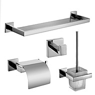Polish Stainless Steel Bath Hardware Set with Toilet Brush Holder Toilet Paper Holder with Lid Glass Shelf and Robe Hook