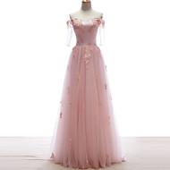 저녁 정장파티 드레스 - 캔디 핑크 A라인 바닥 길이 오프 더 숄더 레이스/명주그물
