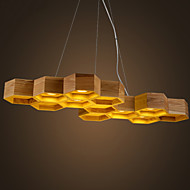 Designer Art Individuality Chandelier Restaurant Bar Simple Honeycomb Wood Lamps