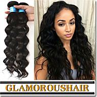 """4stk / lot 8 """"-34"""" brasiliansk virgin hår # 1b naturlige sorte farve naturlige bølge menneskehår væve bundter"""