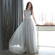 Formal Evening Dress - Silver Plus Sizes Sheath/Column Bateau Floor-length Tulle