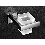 Square Toothbrush Holder Tumble Holder Tooth Brush Holder in Stainless Steel with Glass Cup Bathroom Accessories