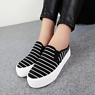 Women's Shoes Canvas Flat Heel Platform/Novelty/Round Toe Loafers Casual Black/Dark Blue/White
