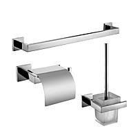 Polish Stainless Steel Bath Accessories Set with Toilet Paper Holder with Lid Toilet Brush Holder and Single Towel Bar