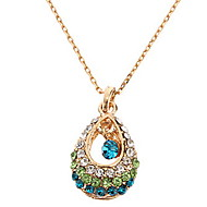 Hollow Diamond Drop Gold Necklace
