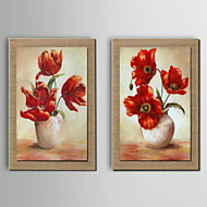 Oil Painting Decoration Flower Hand Painted Canvas with Stretched Framed - Set of 2