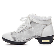 Women's Dance Shoes Sneakers Real Leather +Lace Low Heel Black/White