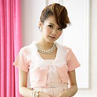 Wedding Wraps Short Sleeve Chiffon/Polyester Sweet Lace Boleros Black/White/Pink Bolero Shrug
