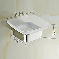 Bathroom Wall Mounted Mirror Polished Stainless Steel Soap Dish Holder with Glass Dish