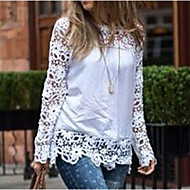 Women's Sexy Casual Lace Cute Plus Sizes Inelastic Long Sleeve Regular Shirt (Lace)
