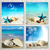 Prints Poster Beach Canvas Seascapes Landscape  Wall Pictures Print On Canvas  4pcs/set (Without Frame)