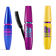 Waterproof Lengthening Extension Eyelash Curling Mascara with Sector Brush Purple&Yellow&Blue