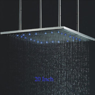 20 Inch Square Stainless Steel 304 Rainfall Bathroom Shower Head With 3 Colors LED Temperature Sensitive Light
