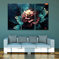 E-HOME® Stretched LED Canvas Print Art Flower LED Flashing Optical Fiber Print Set of 3