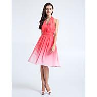 Homecoming Knee-length Chiffon Bridesmaid Dress - Watermelon A-line Halter