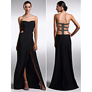 Formal Evening Dress - Black Plus Sizes / Petite Sheath/Column Strapless Floor-length Knit