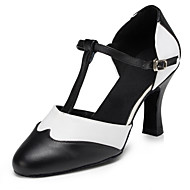Non Customizable Women's Dance Shoes Modern Flocking Flared Heel Black