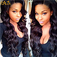 "8""-26"" Peruvian Virgin Hair Body Wave Glueless Full Lace Wig Color Black With Baby Hair for Black Women"
