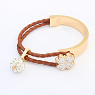 European Style Fashion Clover Rhinestone Ball Braided Rope Bracelet
