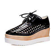 Women's Shoes Wedge Heel Round Toe Oxfords Office & Career/Dress Black/Pink/White/Silver/Gold