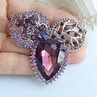 2.36 Inch Silver-tone Purple Rhinestone Crystal Flower Brooch Pendant Art Decorations
