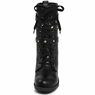 Women's Shoes Faux Leather Chunky Heel Combat Boots Boots Casual Black