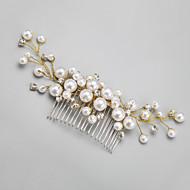 Mulheres / Menina das Flores Strass / Liga / Imitação de Pérola Capacete-Casamento / Ocasião Especial Pentes de Cabelo 1 Peça Branco