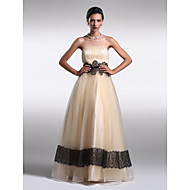 TS Couture® Formal Evening Dress Plus Size / Petite A-line / Princess Strapless Floor-length Organza with Draping / Lace