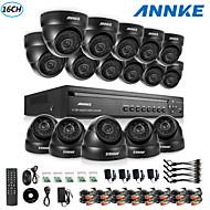 annke® DVR de 16 canales ecloud hdmi 1080p / VGA / 16pcs salida BNC 900tvl 24LEDs CMOS cámaras día / noche IR-CUT ip66