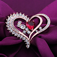 Women's Alloy Heart Shaped Wedding/Party Brooches & Pins With Crystal/Rhinestone