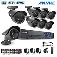 ANNKE® 8CH 960H DVR eCloud HDMI 1080P/VGA/BNC Output  8pcs 900TVL CMOS 42LEDS Day/Night IR-cut Cameras IP66