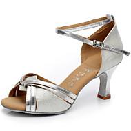 Women's Dance Shoes Sandals Satin Cuban Heel Gold/Silver/Camel