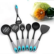7 piezas de nylon herramientas de cocina conjunto skimmer / ranurado tornero / tenedor de pasta / cuchara / cuchara de sopa / turner