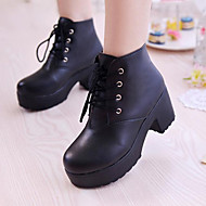 Women's Shoes Faux Leather Chunky Heel Platform/Combat Boots/Novelty/Closed Toe Boots Dress/Casual Black/White