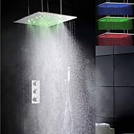 Duscharmaturen - Zeitgenössisch - LED / Thermostatische / Regendusche / Handdusche inklusive - Messing (Chrom)