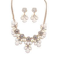 European Style Fashion Wild Sweet Rhinestone Flower Necklace Earrings Set