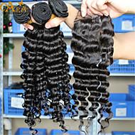 """10 """"-30"""" שיער אדם מעובד גל עמוק שיער בתולת אירו עם שיער סגירת תחרה שחור טבעי תינוק לנשים שחורות"""