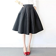 Women's Jacquard Red/Black Skirts , Vintage/Party Knee-length