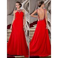 Vestido - Vermelho Festa Formal Linha-A/Princesa Jóia Cauda Média Chiffon Tamanhos Grandes