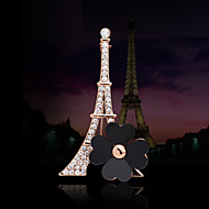 Women's Alloy Paris Tower Casual/Party Brooches & Pins With Rhinestone