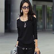 Mulheres Camiseta Casual Simples / Moda de Rua Verão,Sólido Branco / Preto / Verde / Roxo Algodão Decote Redondo Manga Longa Fina